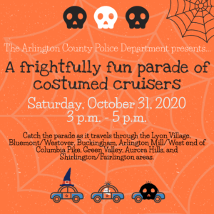 flyer with event details for halloween parade of cruisers