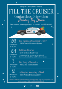 Police cruiser with toys. Listing of event dates and times.