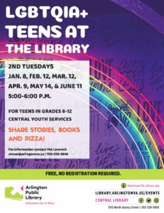 lgbtq teens at library flyer