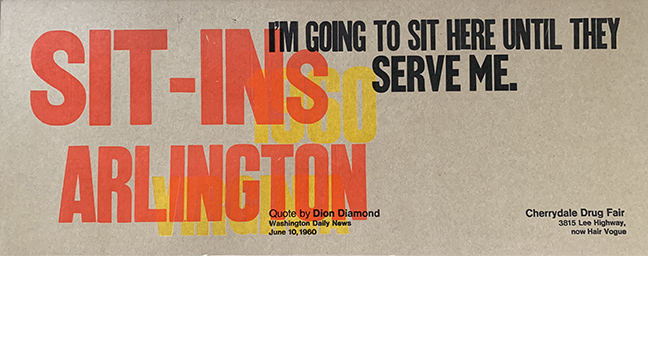 "Sit-ins Arlington ""I'm going to sit here until they serve me."""