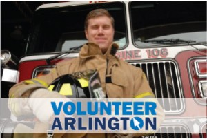 Firefighter standing in front of Engine 106