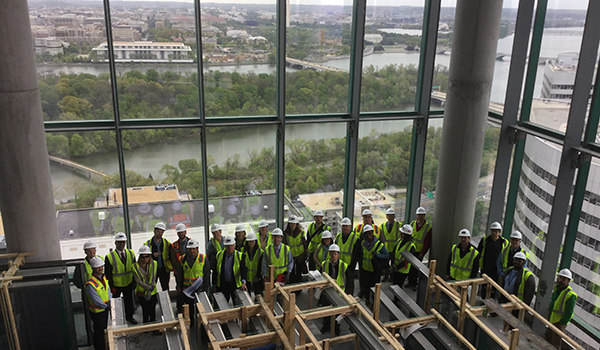 planning division staff tour the near completed central place development in rosslyn