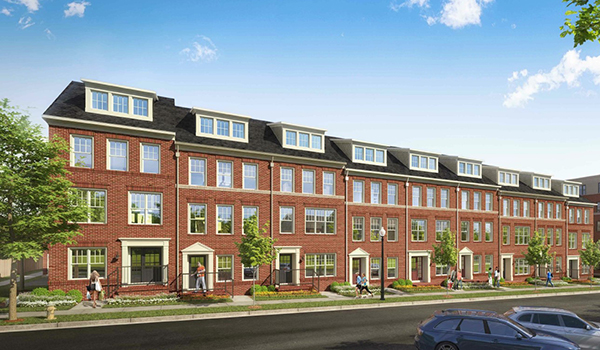 rendering of red cross site townhouses