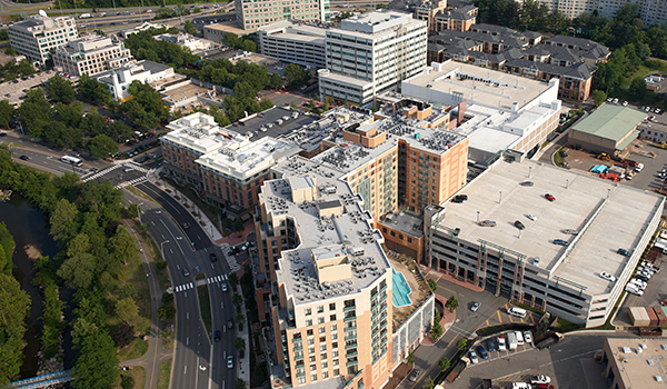 aerial image of shirlington residential and commercial development and close proximity to four mile run