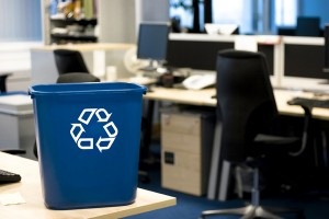 Recycle container in an office.